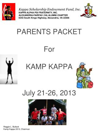 PARENTS PACKET For  KAMP KAPPA  July  21-26, 2013