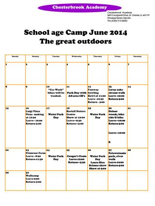School age Camp June 2014 The great outdoors
