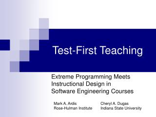 Test-First Teaching