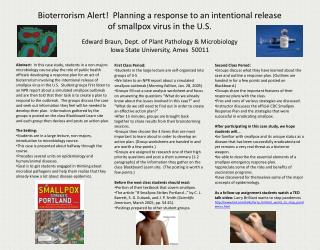 Bioterrorism Alert!  Planning a response to  an intentional release  of smallpox virus in the U.S.