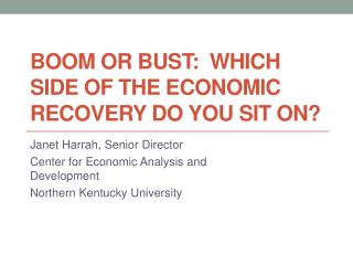 Boom or Bust:  Which Side of the Economic Recovery Do You Sit On ?