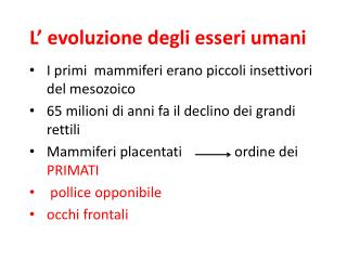 L' evoluzione degli esseri umani