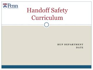 Handoff Safety  Curriculum