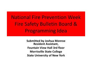 National Fire  Prevention  Week Fire  Safety Bulletin Board & Programming Idea