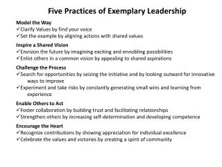 the five practices of exemplary leadership essay