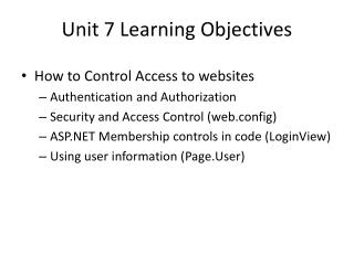 Unit 7 Learning Objectives