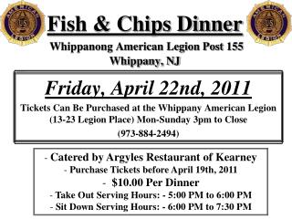 Fish & Chips Dinner Whippanong American Legion Post 155 Whippany, NJ