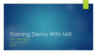 Training Demo With MIX
