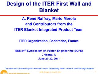 Design of the ITER First Wall and Blanket