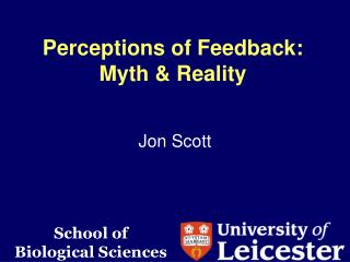 Perceptions of Feedback: Myth & Reality
