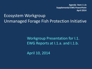Ecosystem Workgroup Unmanaged Forage Fish Protection Initiative
