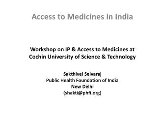 Access to Medicines in India