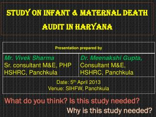 Study on Infant & Maternal Death Audit in Haryana