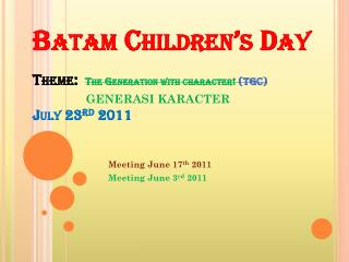Meeting June 17 th  2011 Meeting June 3 rd  2011
