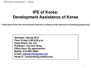 IPE of Korea : Development Assistance  of Korea