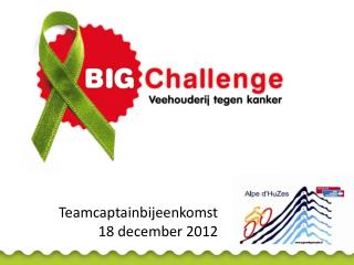 Teamcaptainbijeenkomst 18 december 2012