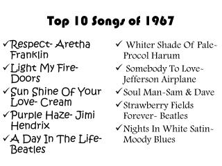 Top 10 Songs of 1967
