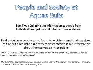 People and Society at  Aquae Sulis