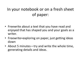 In your notebook or on a fresh sheet of paper: