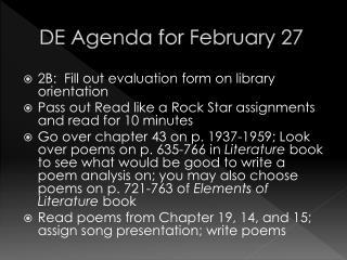 DE Agenda for February 27