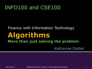 Algorithms  More than just solving the problem