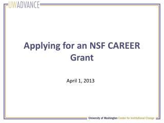 Applying for an NSF CAREER Grant