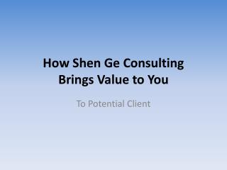How Shen Ge  Consulting Brings  Value to You