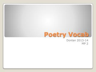 Poetry Vocab