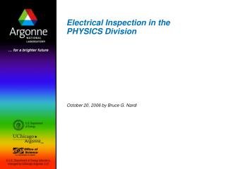 Electrical Inspection in the PHYSICS Division