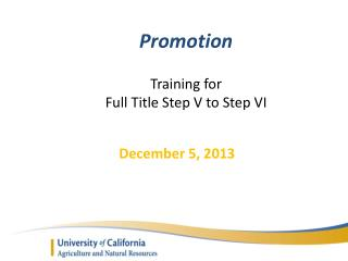 Promotion Training for  Full Title Step V to Step VI