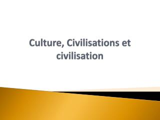 Culture, Civilisations et civilisation