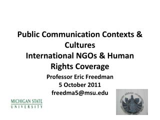 Public Communication Contexts & Cultures International NGOs & Human Rights Coverage
