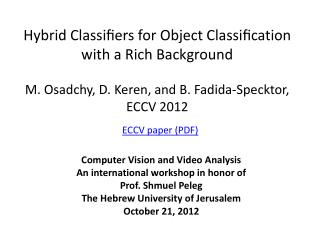 Hybrid Classifiers for Object Classification with a Rich  Background