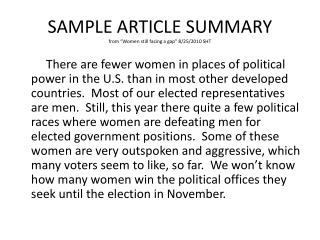 "SAMPLE ARTICLE  SUMMARY from ""Women still facing a gap"" 8/25/2010 SHT"