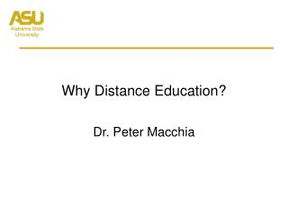 Why Distance Education