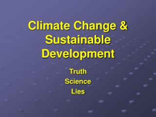 Climate Change & Sustainable Development