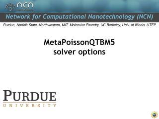 MetaPoissonQTBM5 solver options