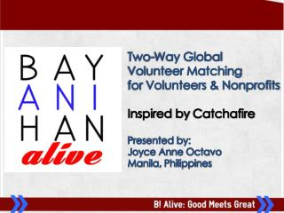 Two-Way  Global  Volunteer Matching  for  Volunteers  & Nonprofits Inspired by  Catchafire