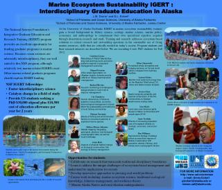 Marine Ecosystem Sustainability IGERT  :  Interdisciplinary  Graduate Education in  Alaska