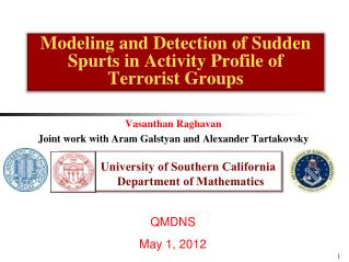 Modeling and Detection of Sudden Spurts in Activity Profile of Terrorist Groups