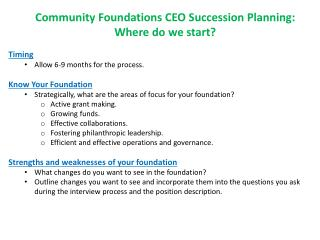 Community Foundations CEO Succession Planning: Where do we start? Timing
