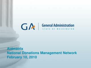 Aidmatrix National Donations Management Network February 10, 2010