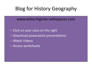Blog for  History Geography