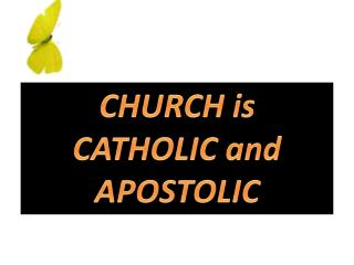 CHURCH is CATHOLIC  and APOSTOLIC