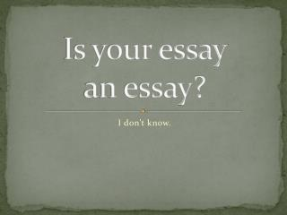 Is your essay  an essay?