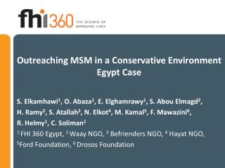 Outreaching MSM in a Conservative Environment Egypt Case