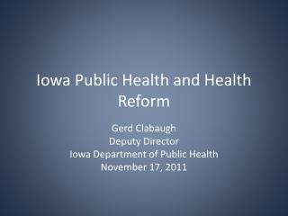 Iowa Public Health and Health Reform