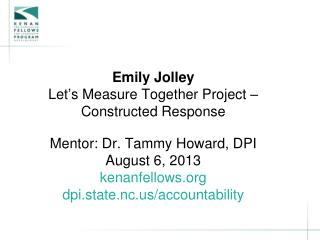 Emily  Jolley Let's Measure Together Project –  Constructed Response