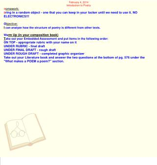 February 4, 2014 Introduction to Poetry H omework: