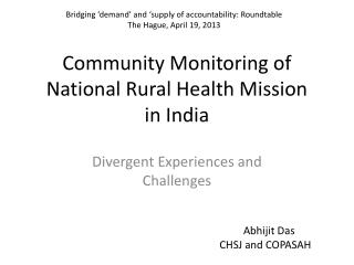 Community Monitoring of National Rural Health Mission  in India